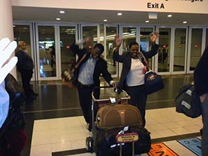 Alphonce & Eva Ngowi Arriving at Airport